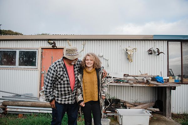 Picture of Jayda and Mort outside a shed