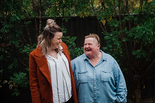 Picture of Chelsea laughing with Robyn